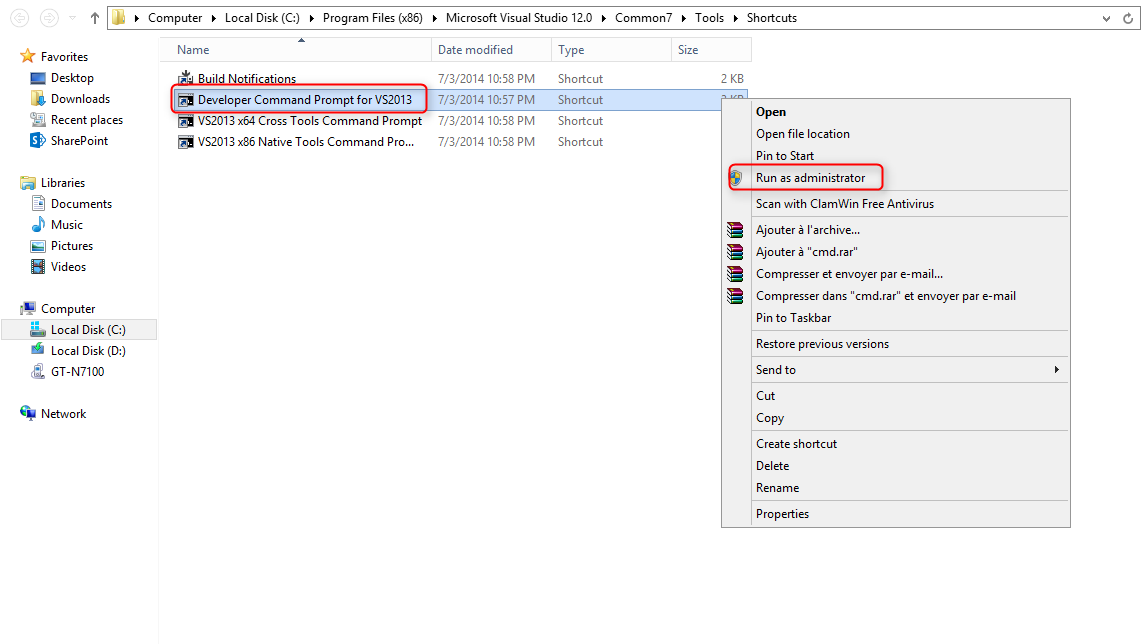 développer command prompt for vs 2013
